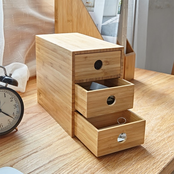 3-Drawer Bamboo Chest