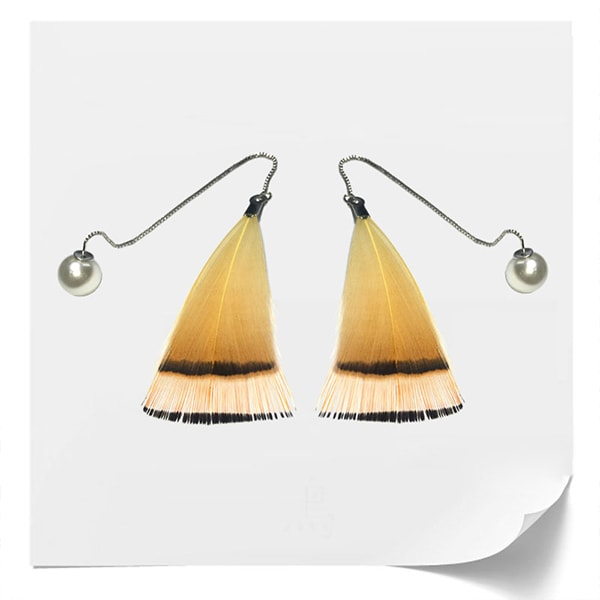 Gradient Yellow Feather Earrings
