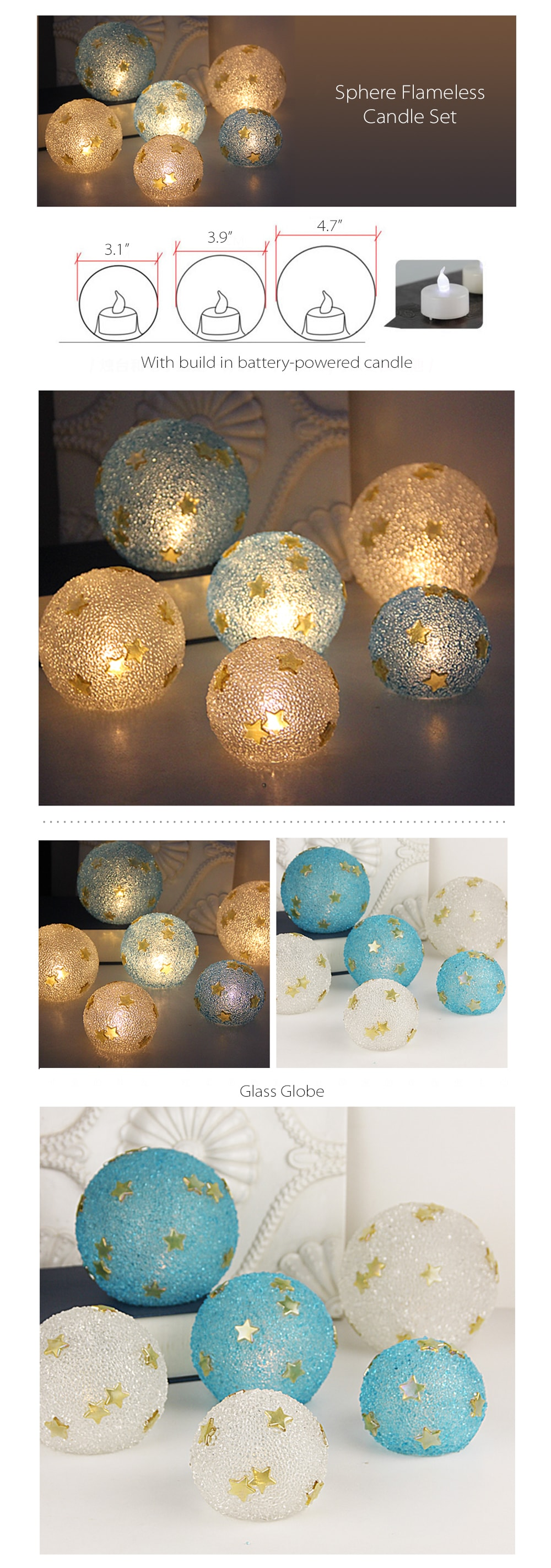Colorful Sphere Candle Shimmering Glow