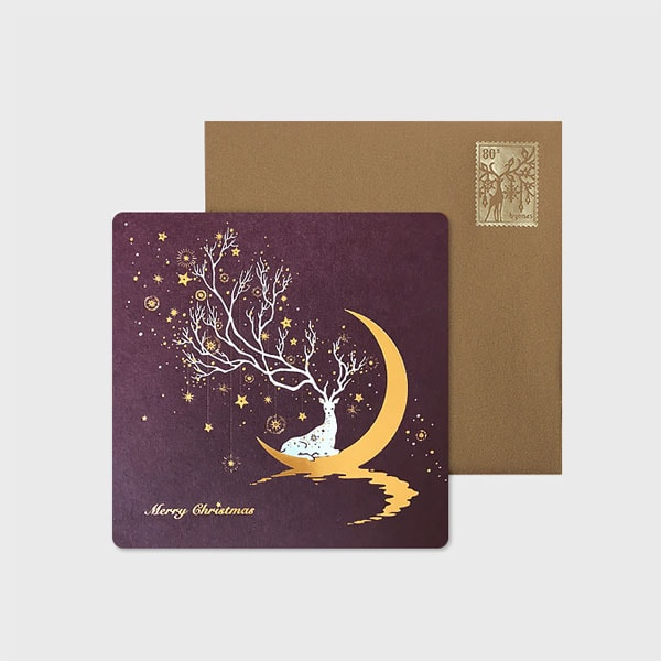 Fantasy Crescent Moon Reindeer Card