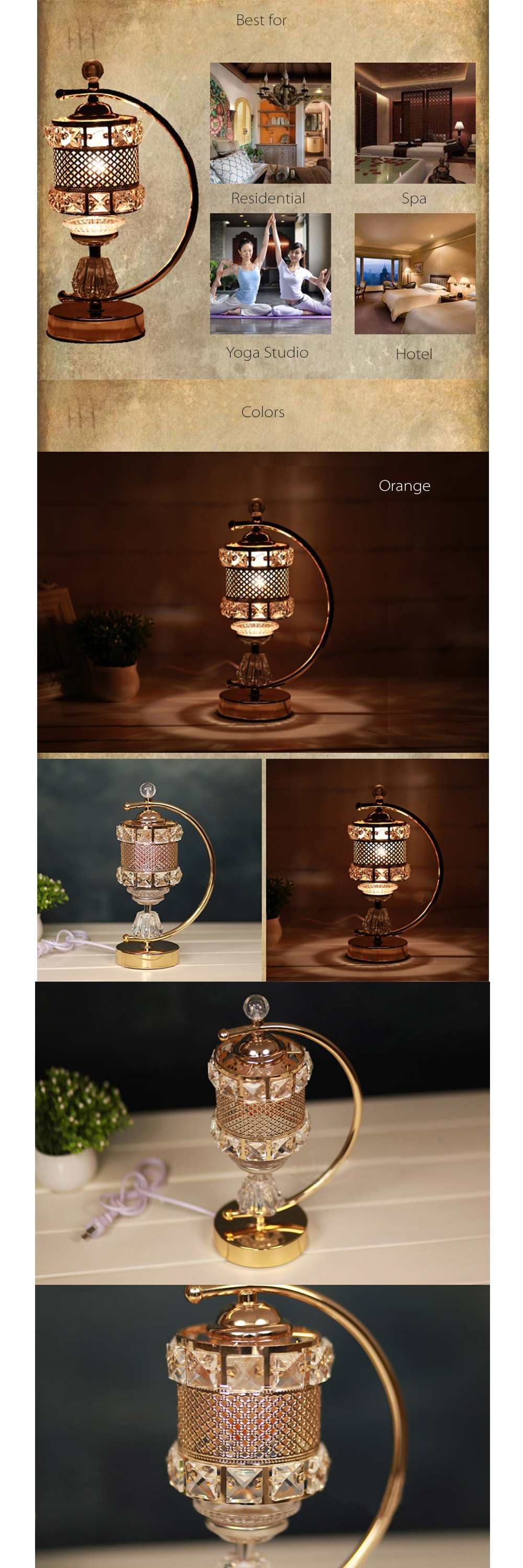 Electric Aroma Lamp Vintage Crystal Style