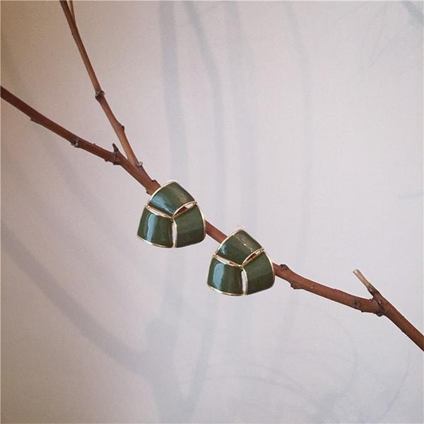 Triangle Enamel Earrings