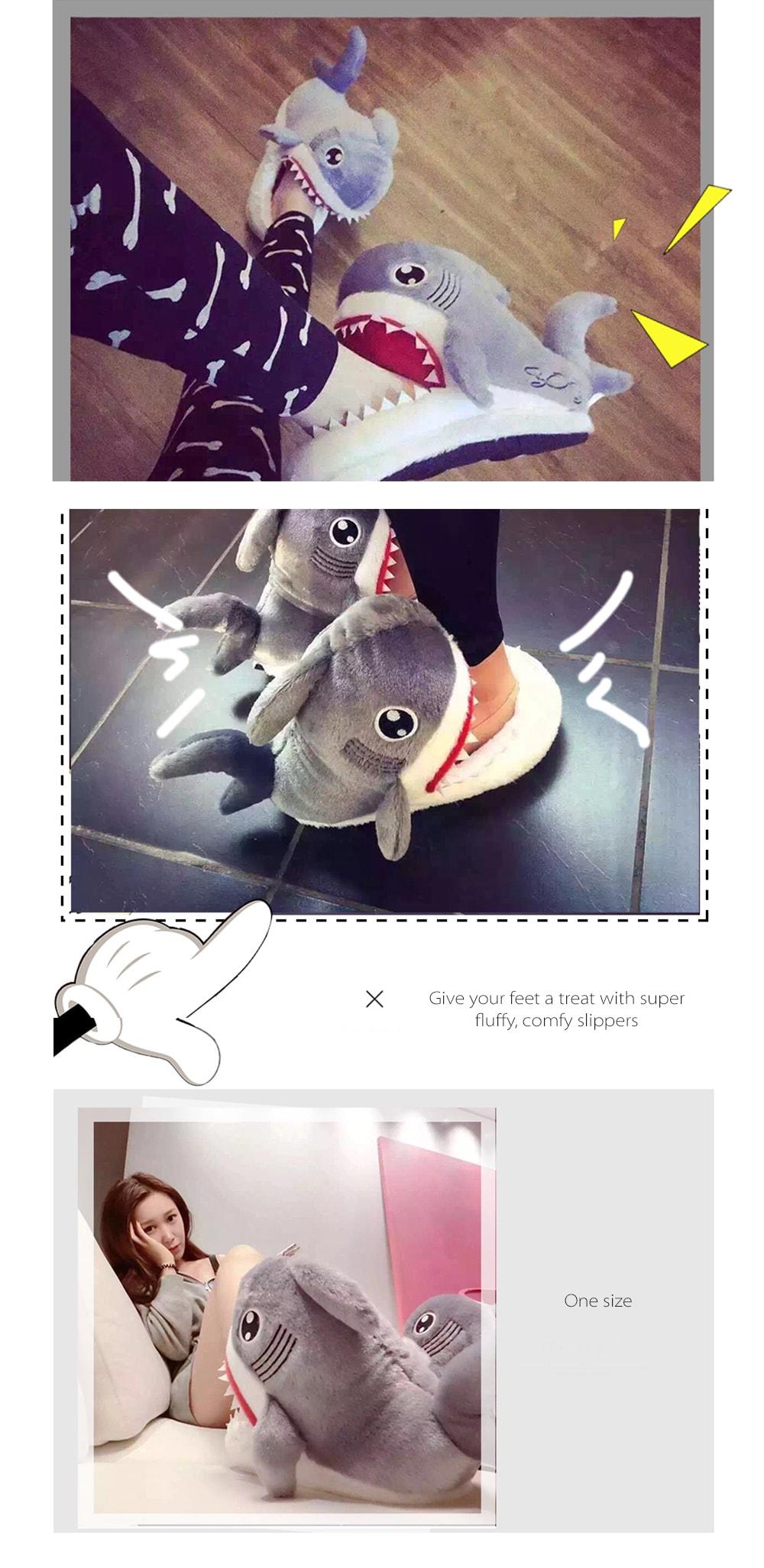 Shark Plush Slippers Slide On Comfort