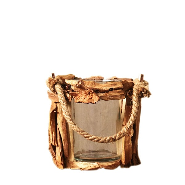 product image for Driftwood & Glass Hurricane Lamp