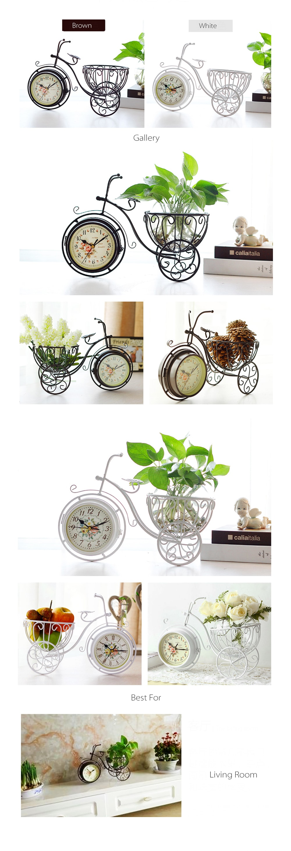 Bicycle Clock Tabletop Decoration
