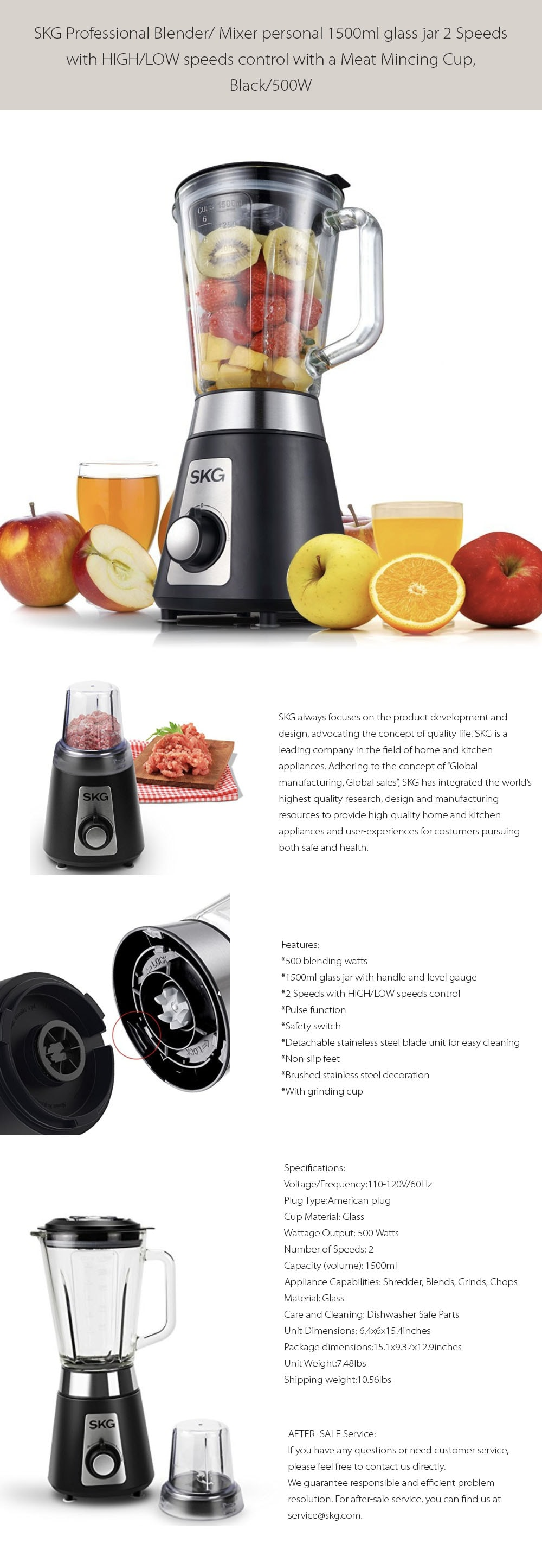 SKG Professional Blender 2 Speeds Control