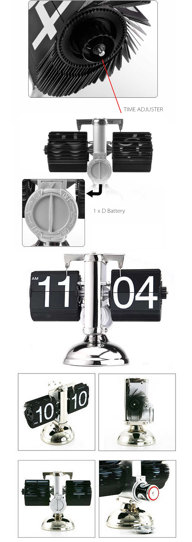 Flip Down Internal Gear Operated Clock Cute and Unique Design