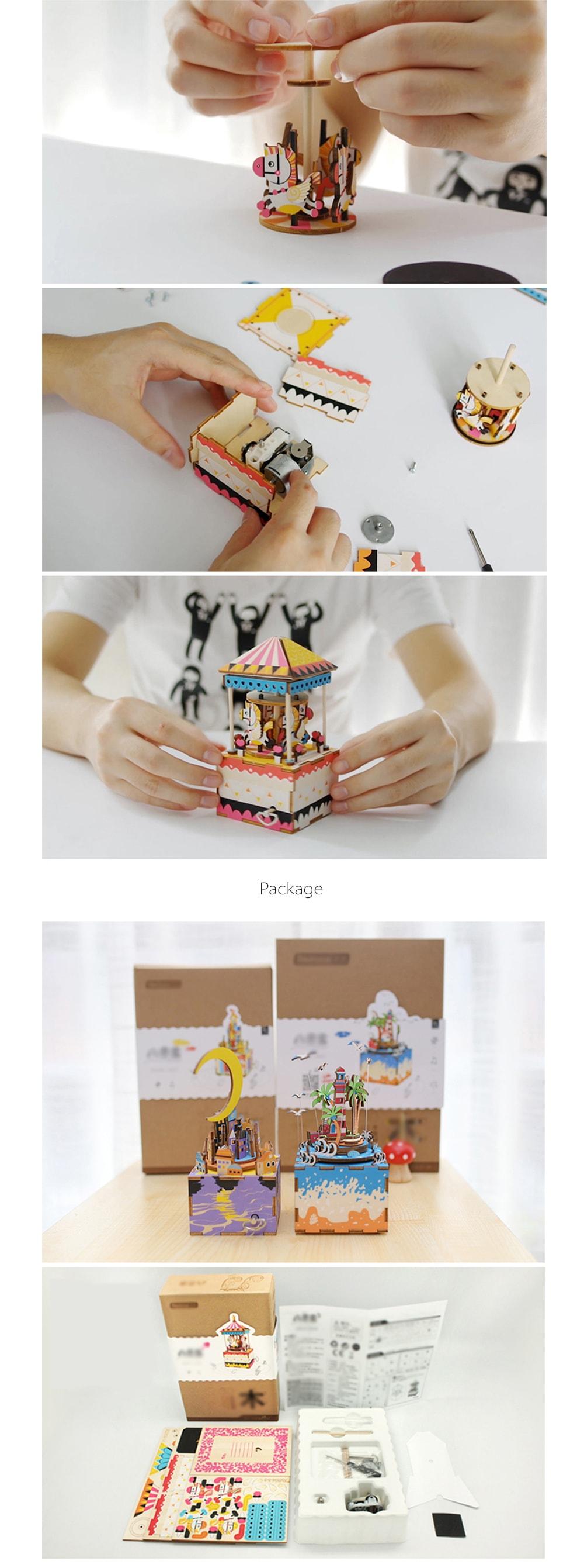 3D Puzzle Wooden Music Box DIY Art Project