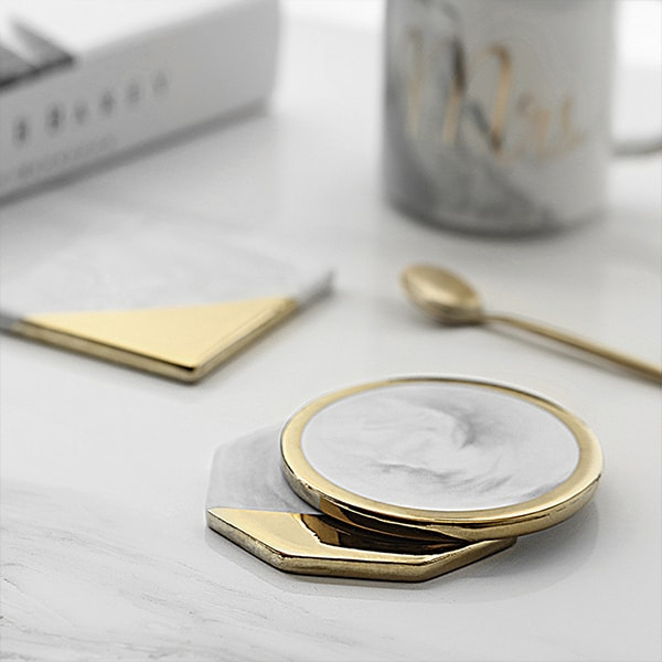Gold Dipped Marble Coaster