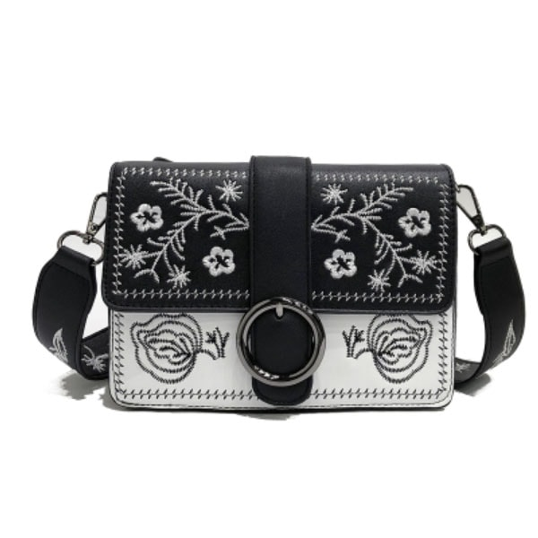 Embroidered Buckle Handbag