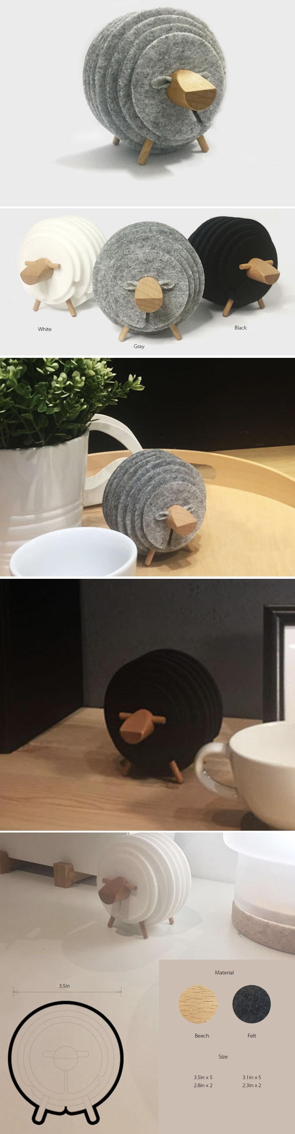 Sheep Coasters Japanese and Cute Design