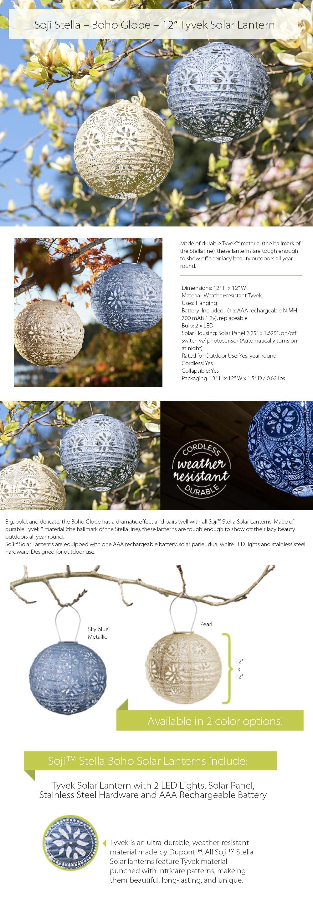 Soji Stella Boho Globe A 12 in Tyvek Solar Lantern