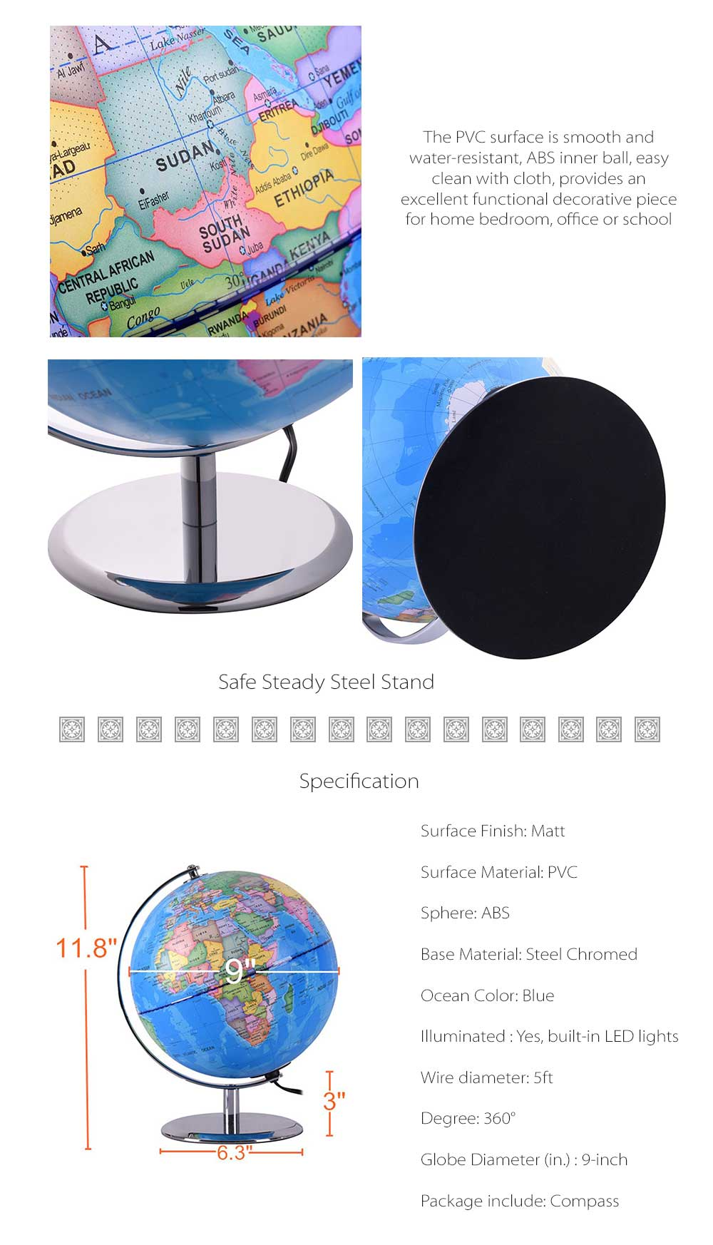Qwork Illuminated Constellation World Globe 9-inch 3-in-1 Political Tabletop Lighted Earth Map