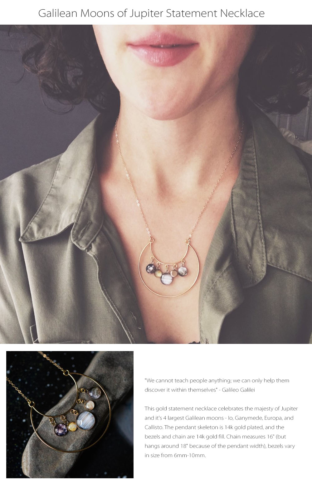 Galilean Moons of Jupiter Statement Necklace 14K Gold Necklace