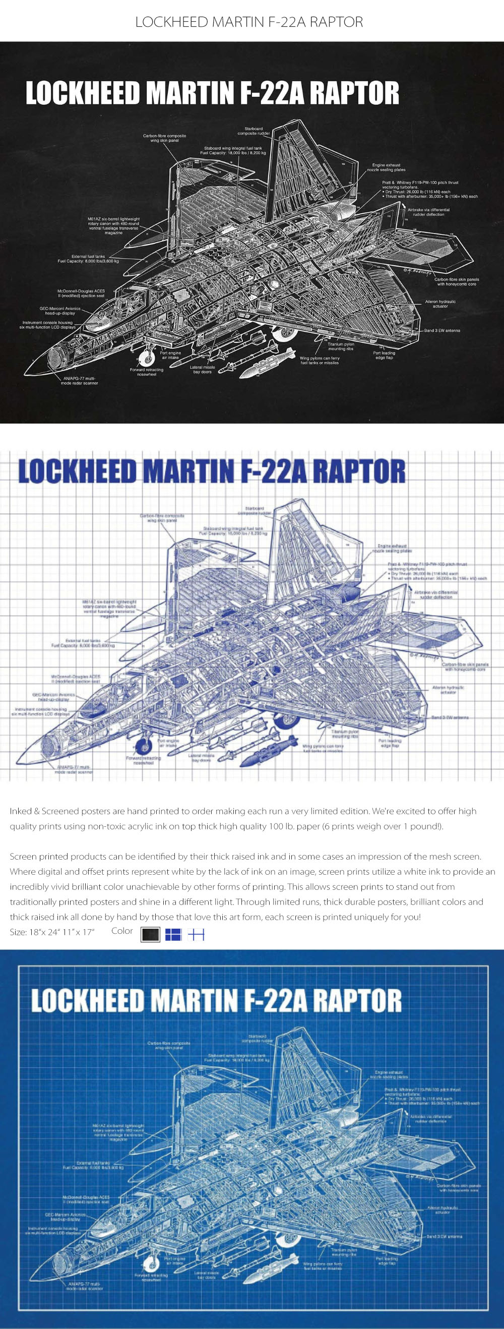LOCKHEED MARTIN F-22A RAPTOR Non-toxic Acrylic Ink