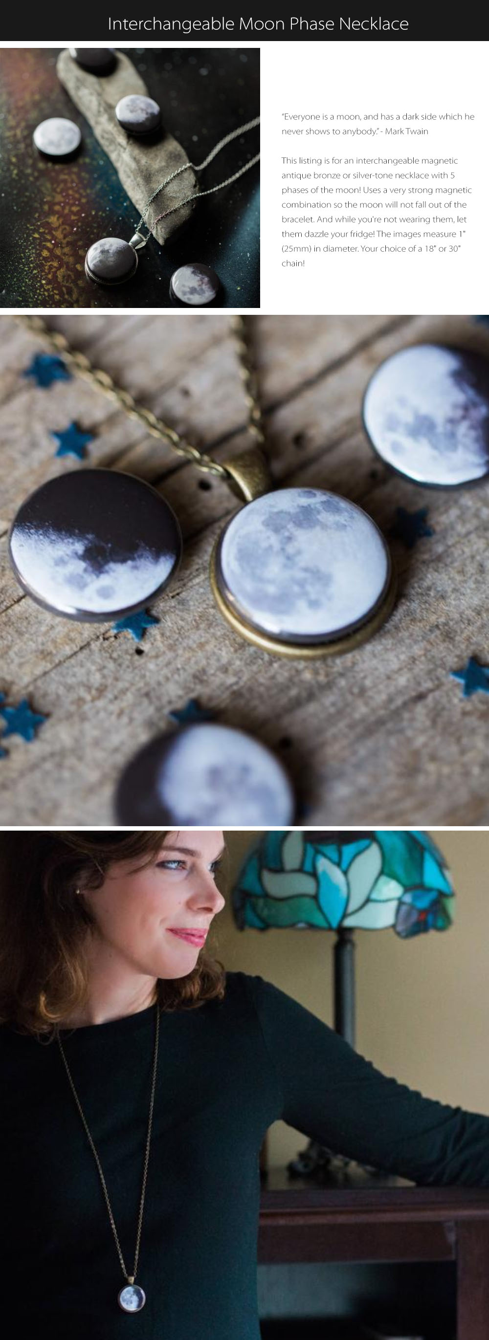 Interchangeable Moon Phase Necklace Everyone Is A Moon