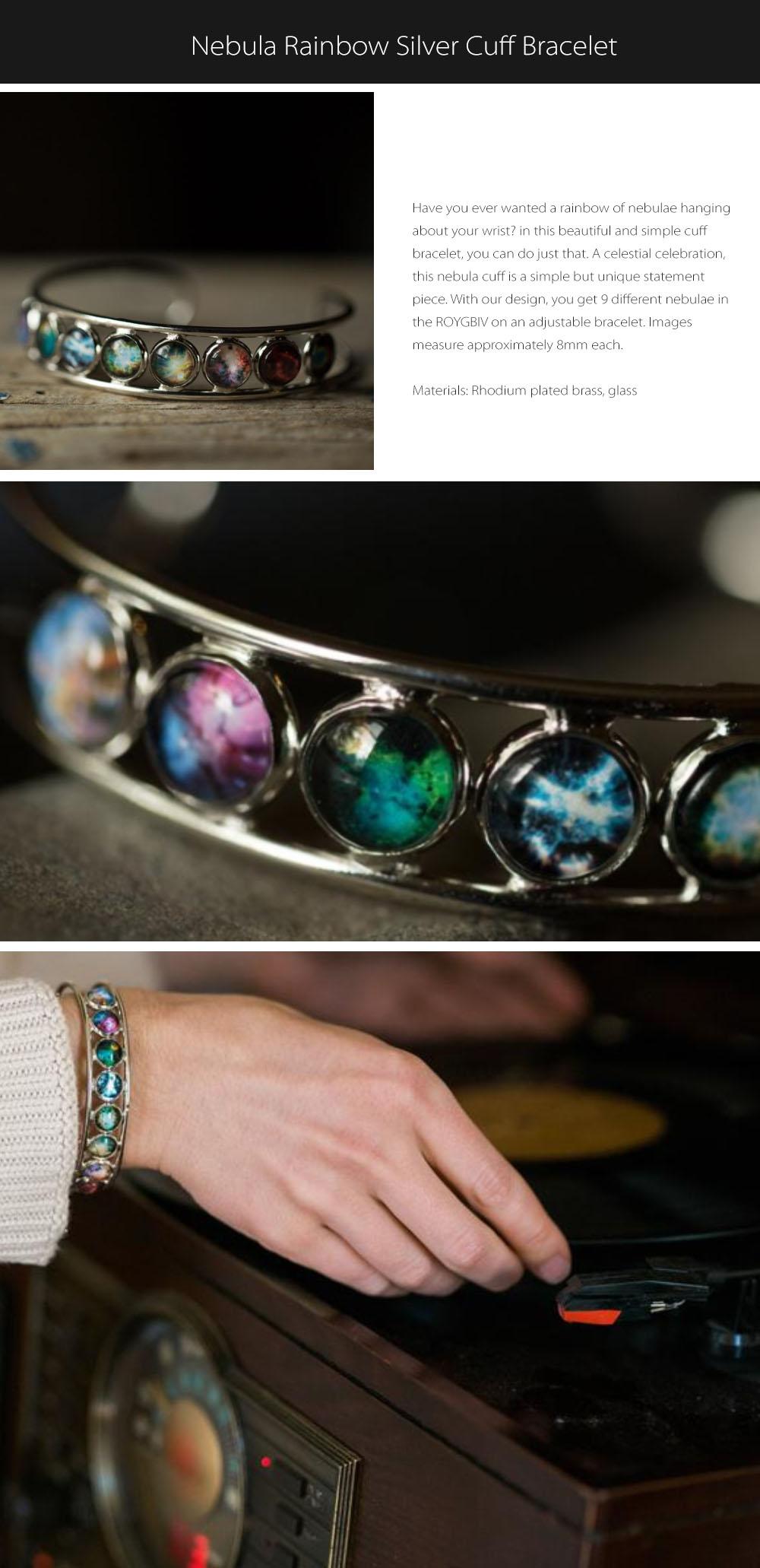 Nebula Cuff Bracelet Rainbow Silver
