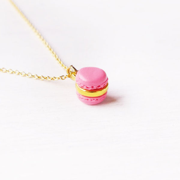 Mini Pink Macaron Necklace