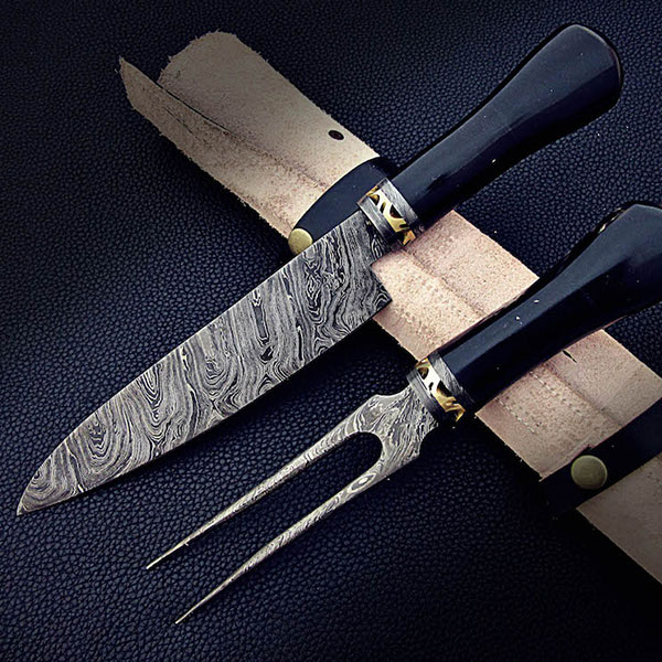 Damascus Chef Knife & Fork Set