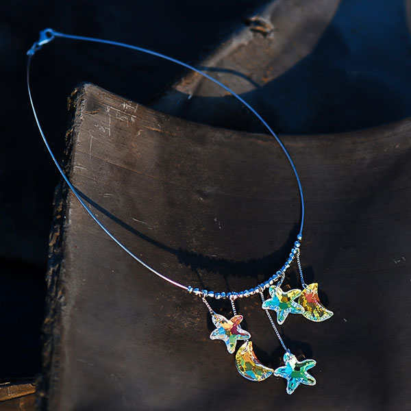 Moon Star Crystal Chain Necklace