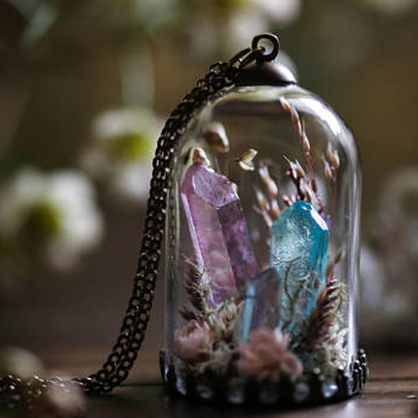 Aura Quartz Crystal Terrarium Necklace