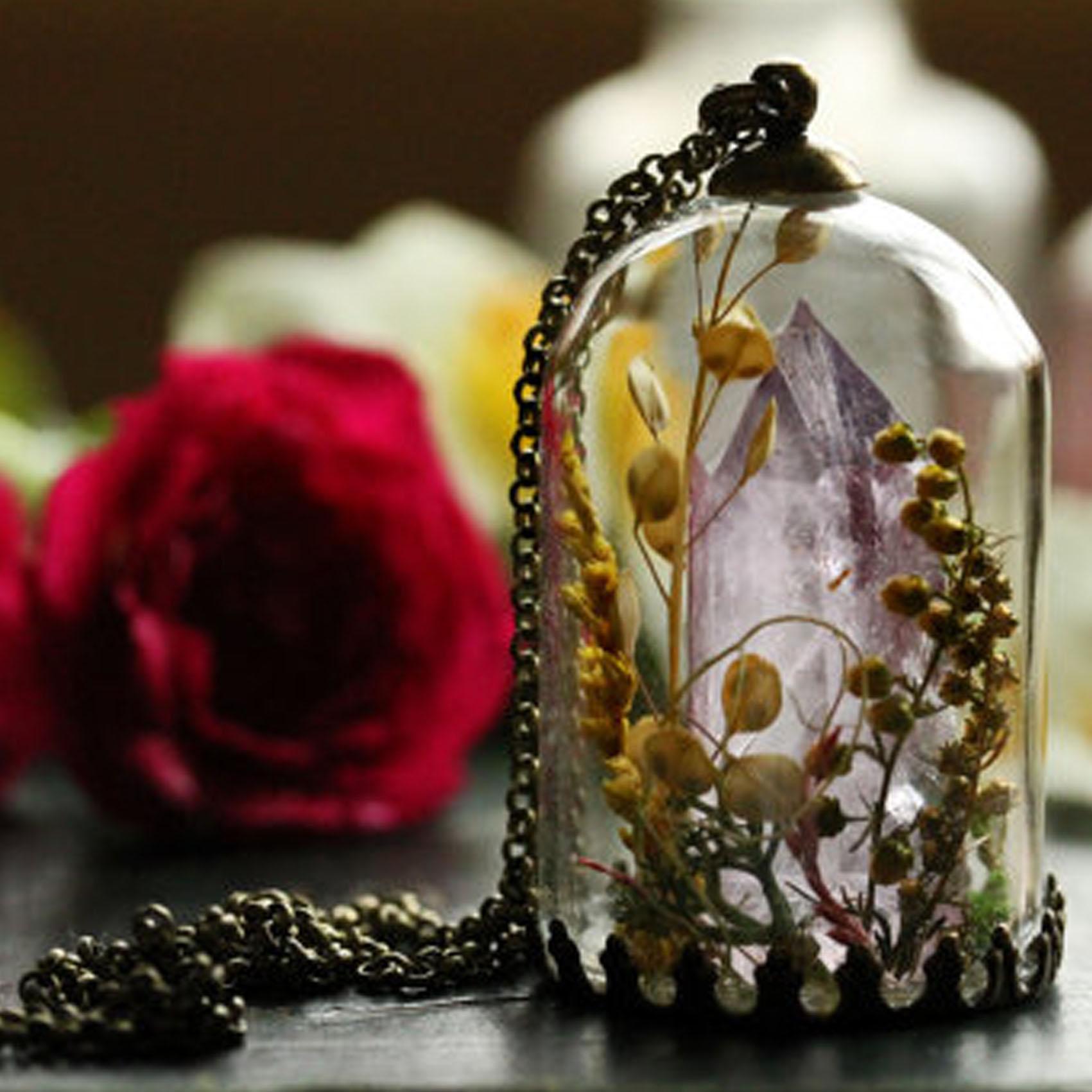 Amethyst Crystal Terrarium Necklace