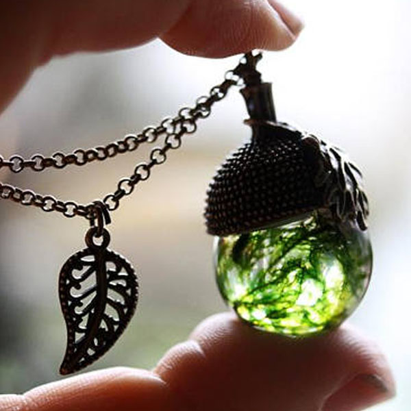 Moss Acorn Necklace