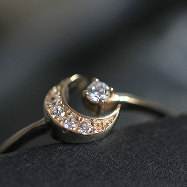 product image for Crescent Moon Star Ring