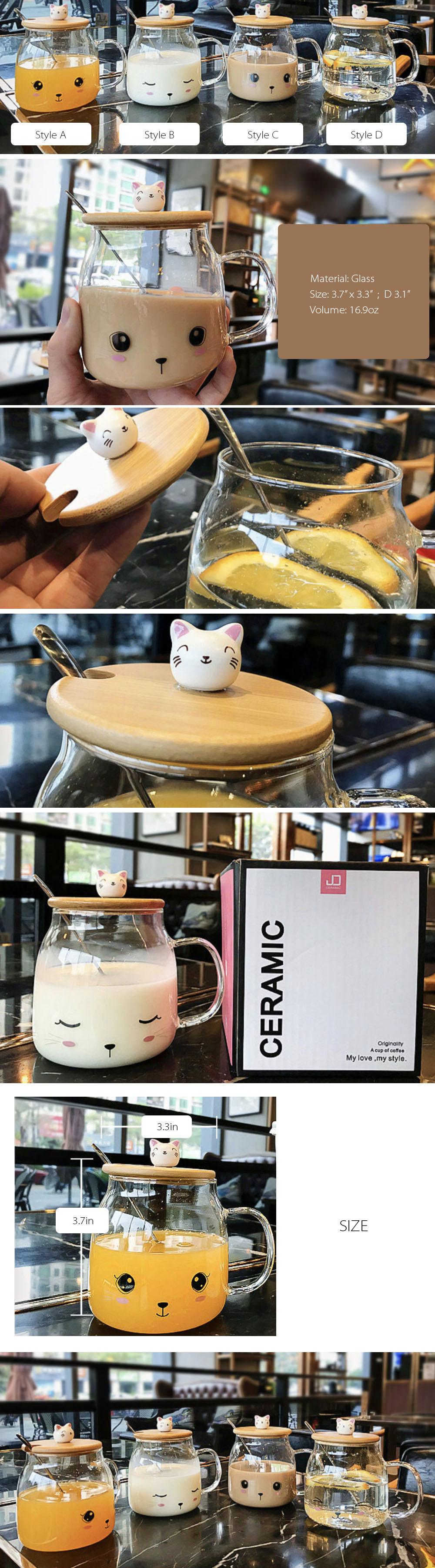 Cute Cat Cup Mug, Lid and Spoon Set