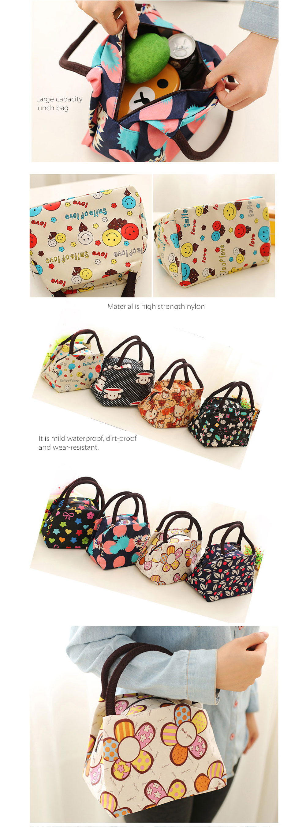 Waterproof Fabric Lunch Bag Variety of Options