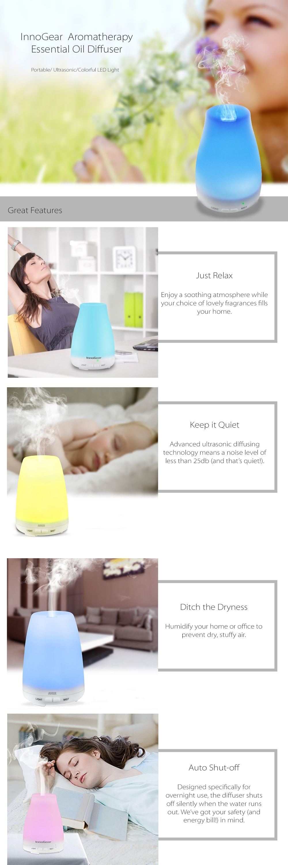 100ml Aromatherapy Essential Oil Diffuser Portable and Color Changing