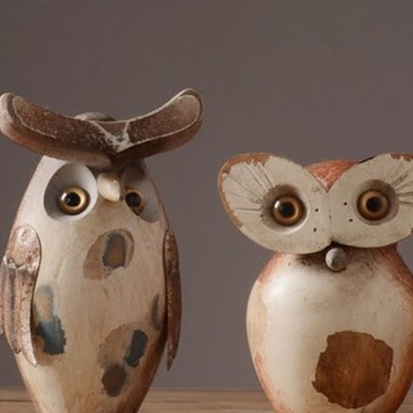 Classical Wooden Owl Statue