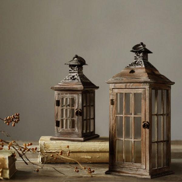 Vintage Wooden Candle Lantern