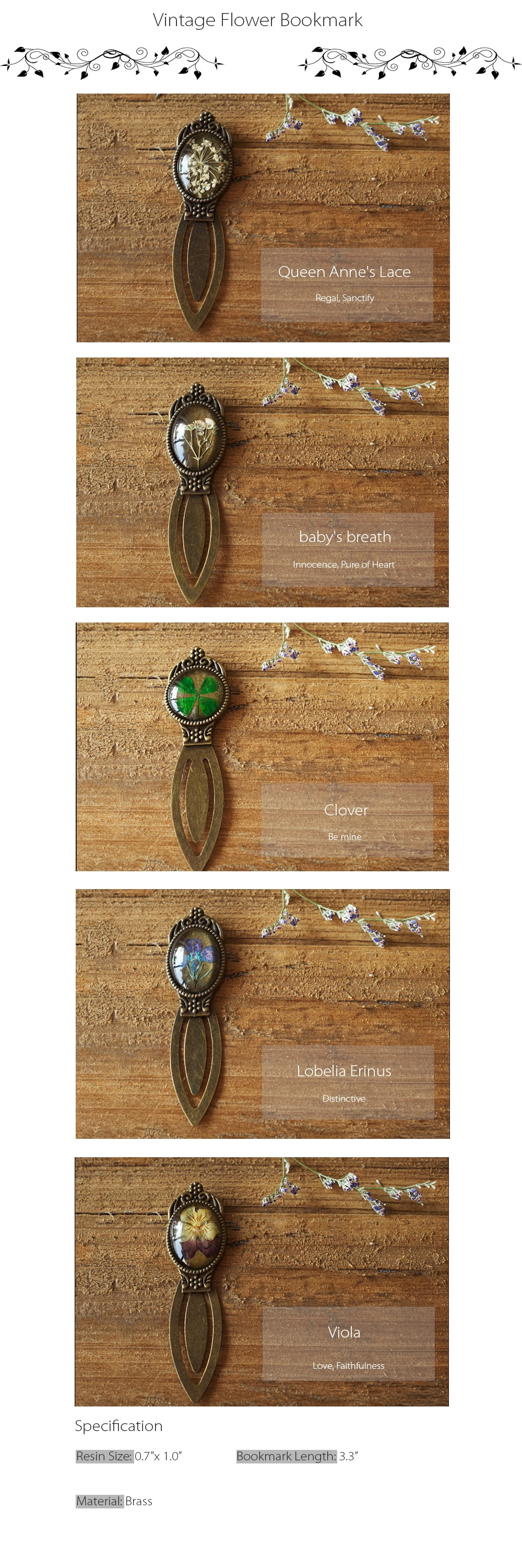 Vintage Flower Bookmark A Perfect Gift For Book Lovers