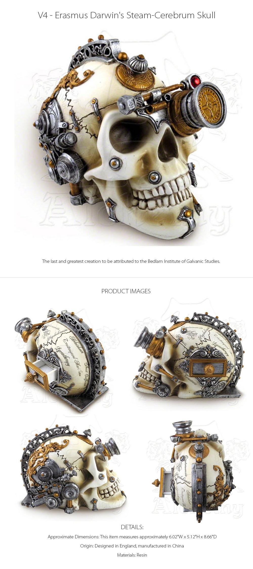 Erasmus Darwin's Steam-Cerebrum Skull Designed in England