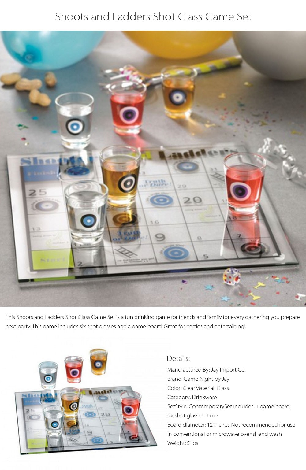 Shoots and Ladders Shot Glass Game Set Party Time