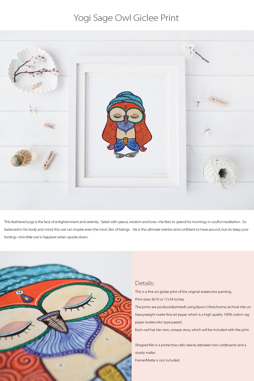Character Owls Giclee Print Each Owl Has His/Her Own, Unique Story