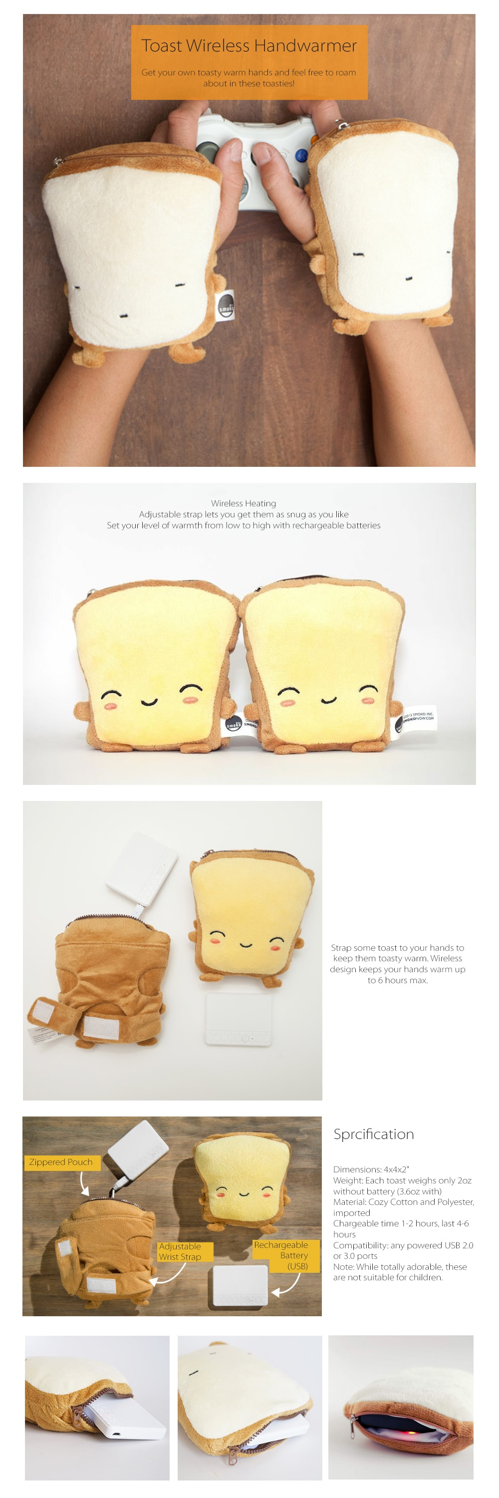 Toast Wireless Handwarmers - Butta Squishy And Adorable