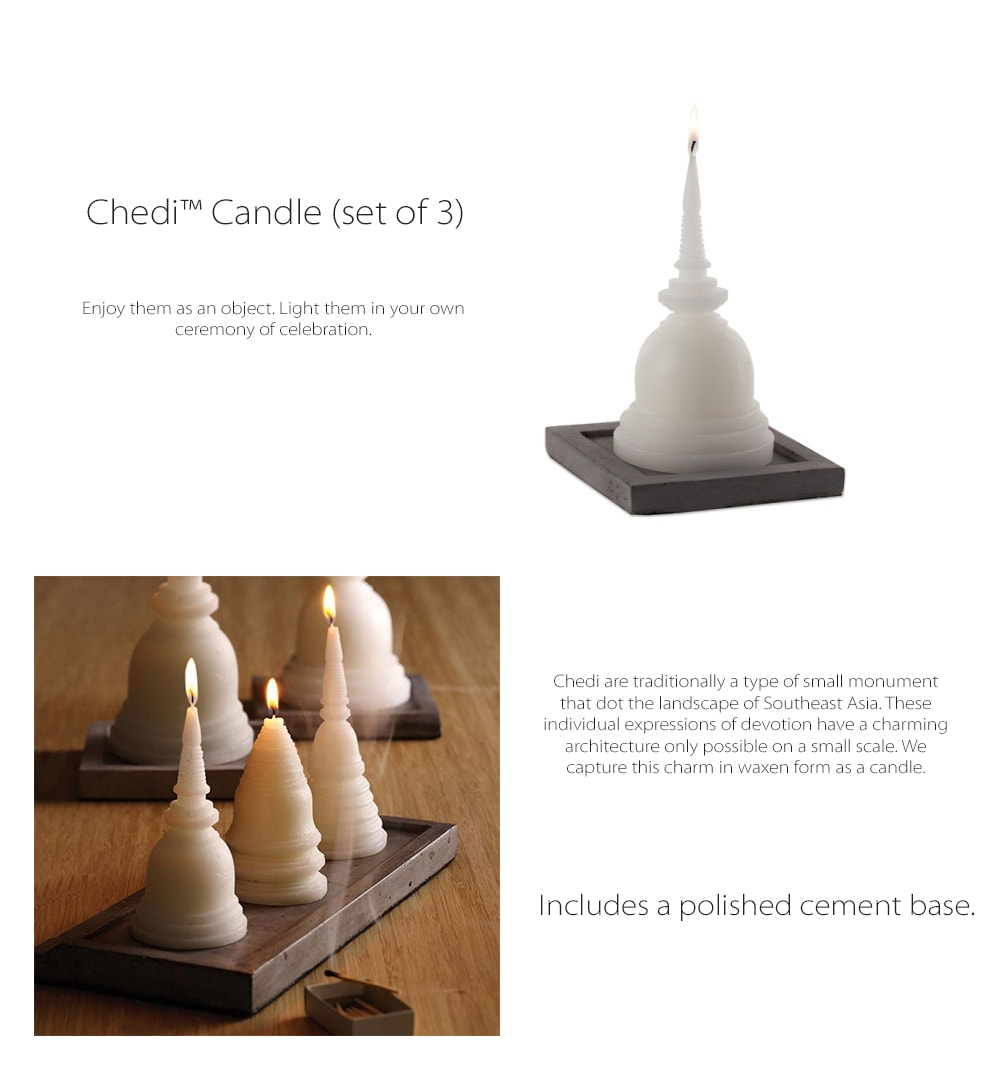 Chedi Candle (set of 3) A Type Of Small Monument
