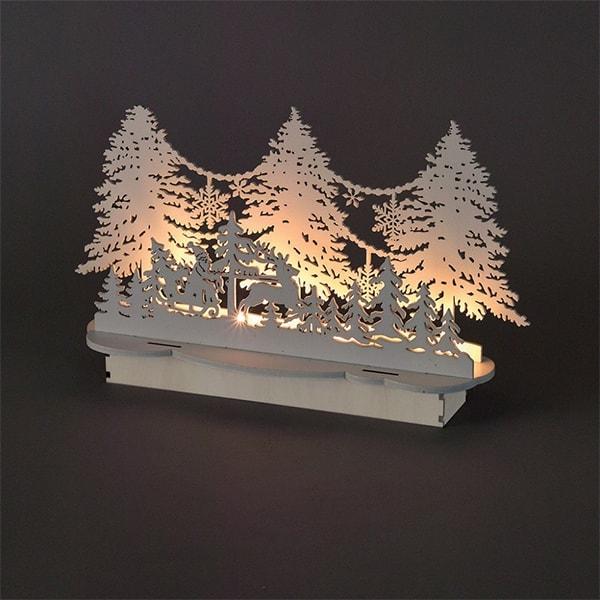 Nordic White LED Santa's Sleigh & Forest