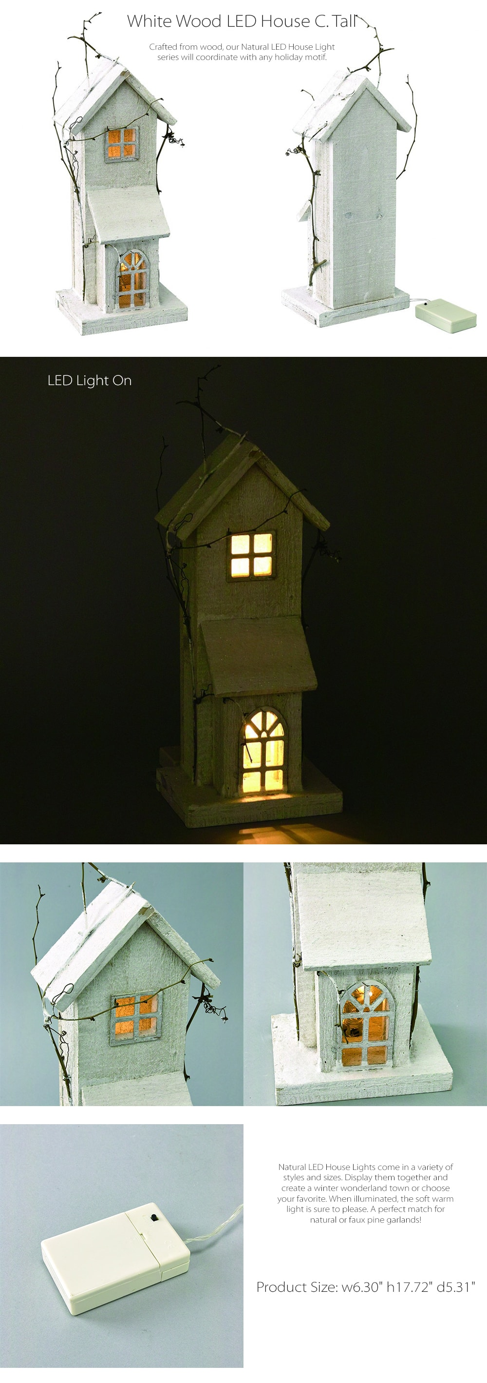 White Wood LED House C. Tall Crafted From Natural Wood