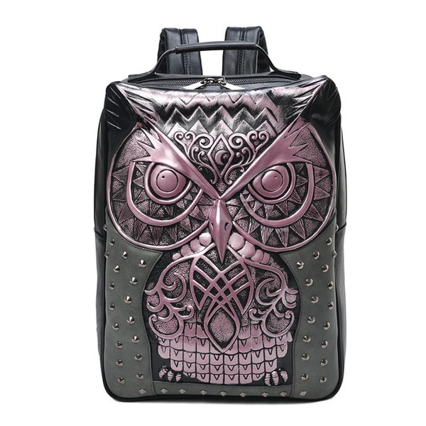 product image for 3D Embossed Owl Studded Backpack