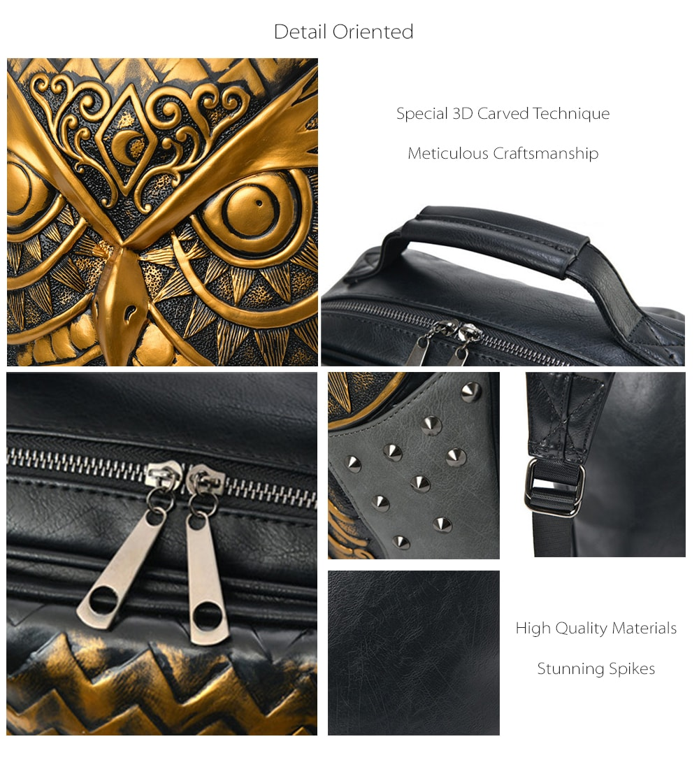 3D Owl Embossing Spike Backpack Stunning Looking and Good For Daily Use