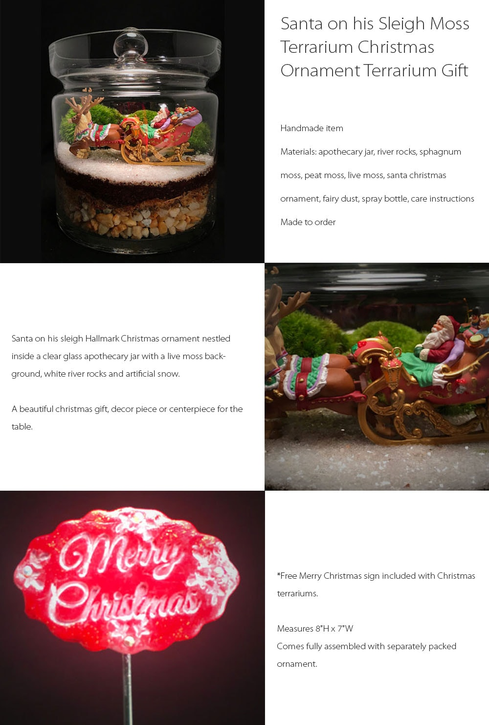 Santa on his Sleigh Moss Terrarium Christmas Ornament Terrarium Gift