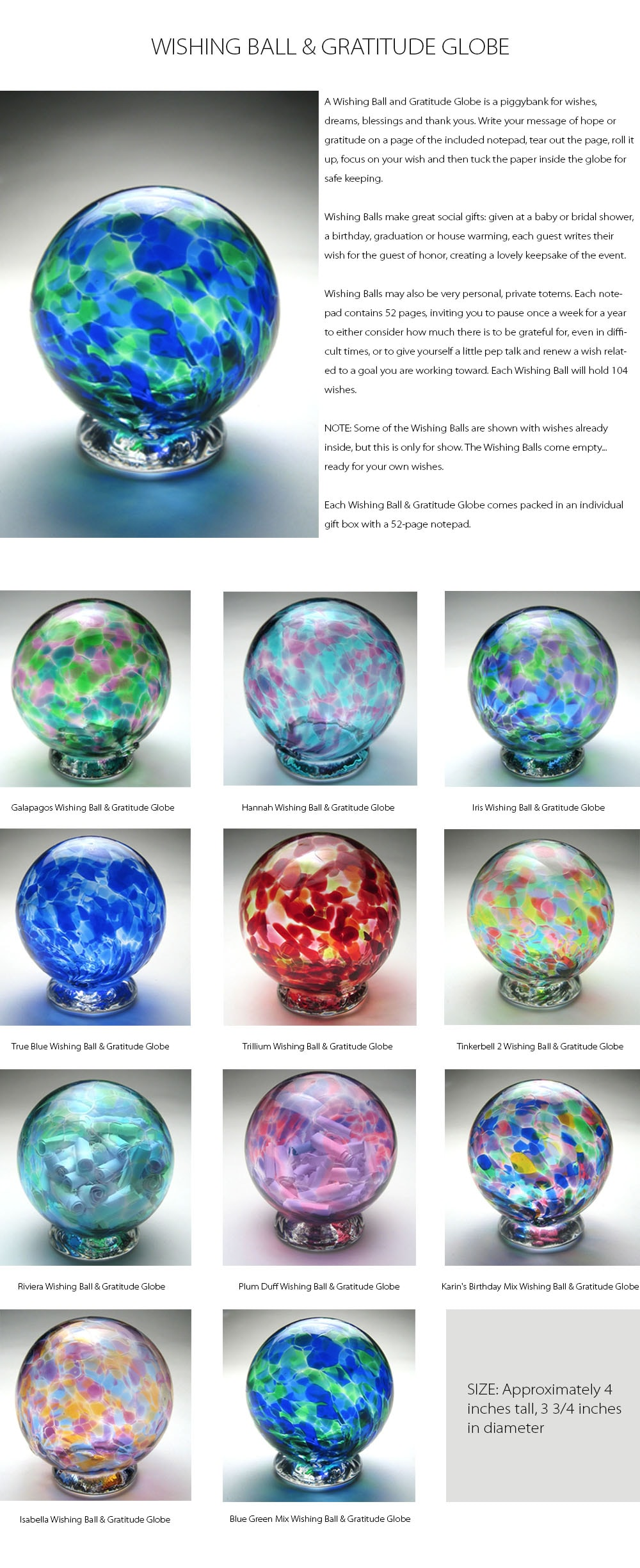 Wishing Ball And Gratitude Globe Wishes, Dreams, Blessings And Thank Yous