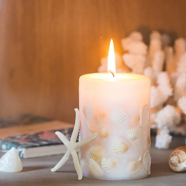 Seashell Pillar Candle