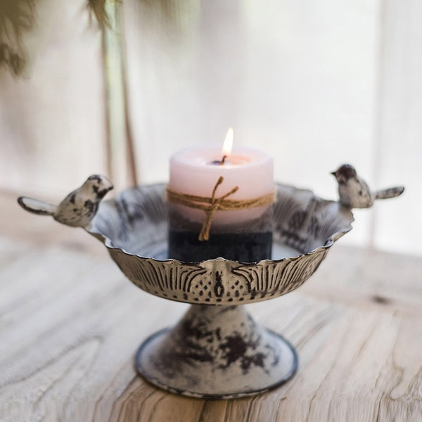 Elegant Birdbath Candle Holder