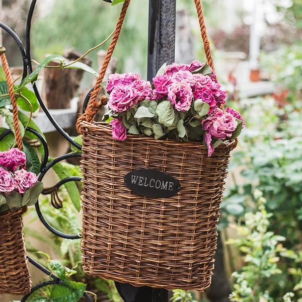 Vintage Seagrass Hanging Basket