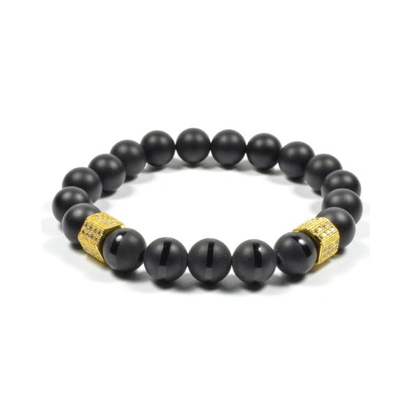 10 MM ONYX AND GOLD PAVE