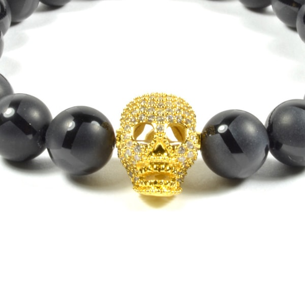 product image for 10MM BLACK ONYX AND CZ GOLD FILLED SKULL